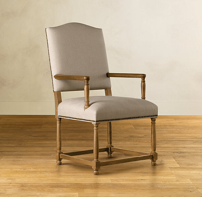 French style camel back carver dining chair with stud detail and oak frame