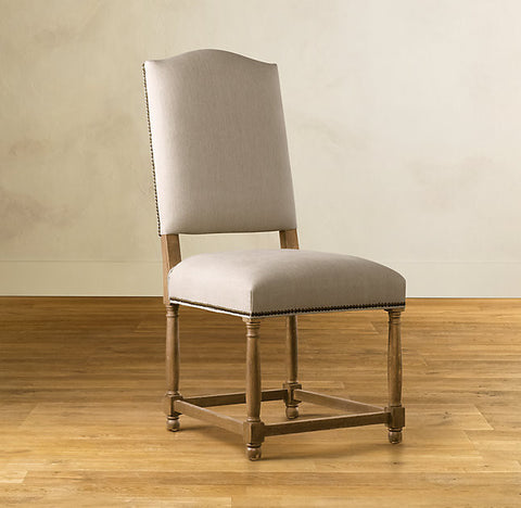 French style camel back dining chair with stud detail and oak frame