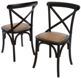 Classic French style Cross Back Bistro chair in solid Oak