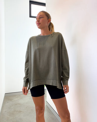 Betty Basics Sienna Sweat Top - Fern