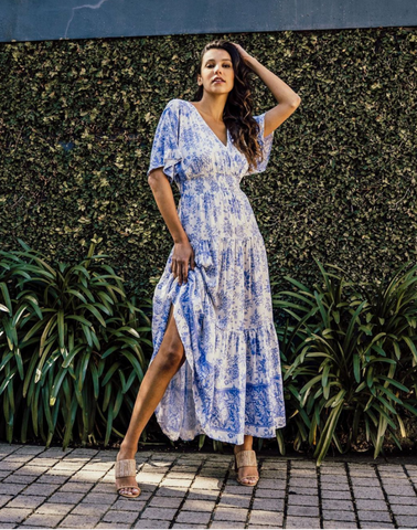 Veronika Maxi Dress - Cornflour Blue Floral