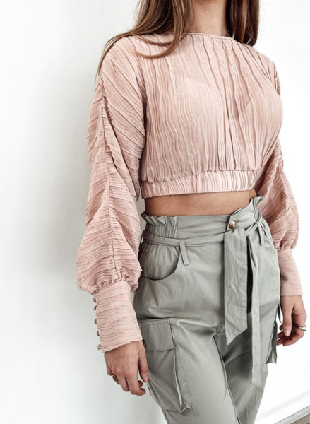 Bagira Crushed Crop Top - Blush