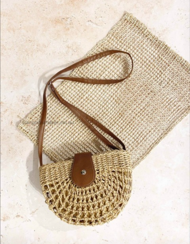 Marilee Straw Half Moon Bag