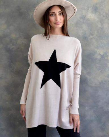 Chantel Knit Top - Oatmeal/Black Star