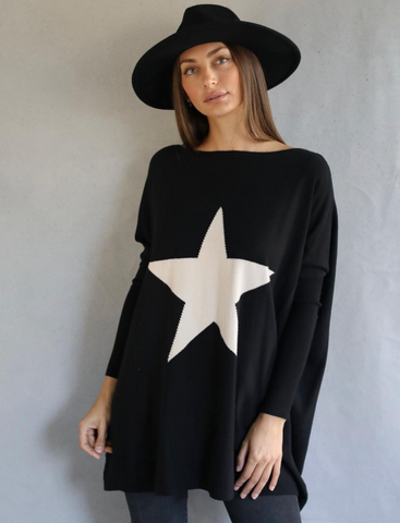 Chantel Knit Top - Black/Oatmeal Star