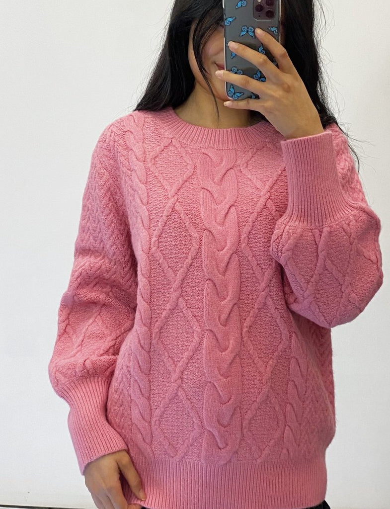 Carter Cable Knit - Rose Pink