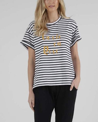 Betty Basics Boxy Tee - B/W stripes