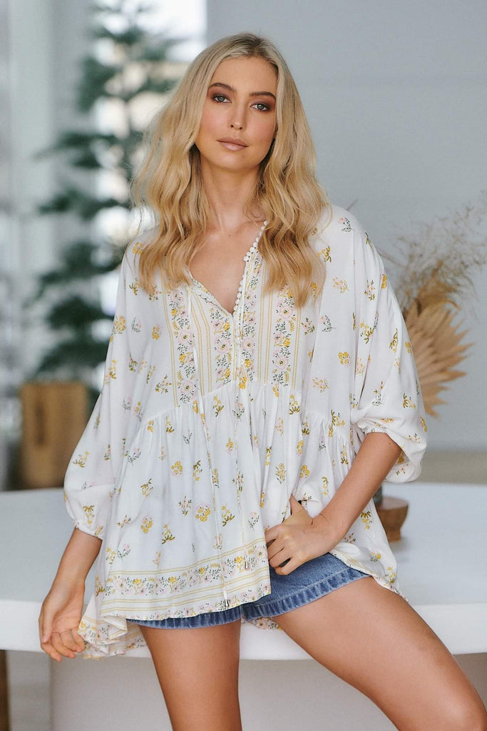 Jaase Lemon Myrtle Chloe Top - White