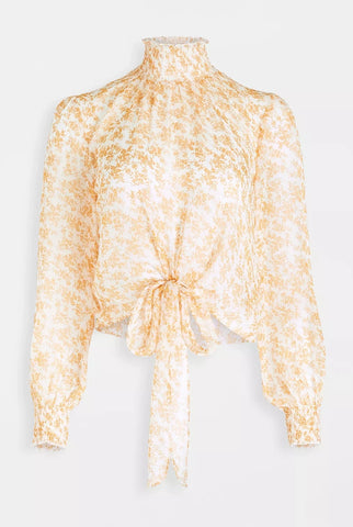 Sinclair High Neck Blouse - Gold/White