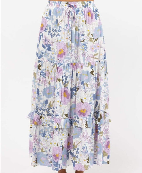 Phoebe Maxi Skirt - White Floral