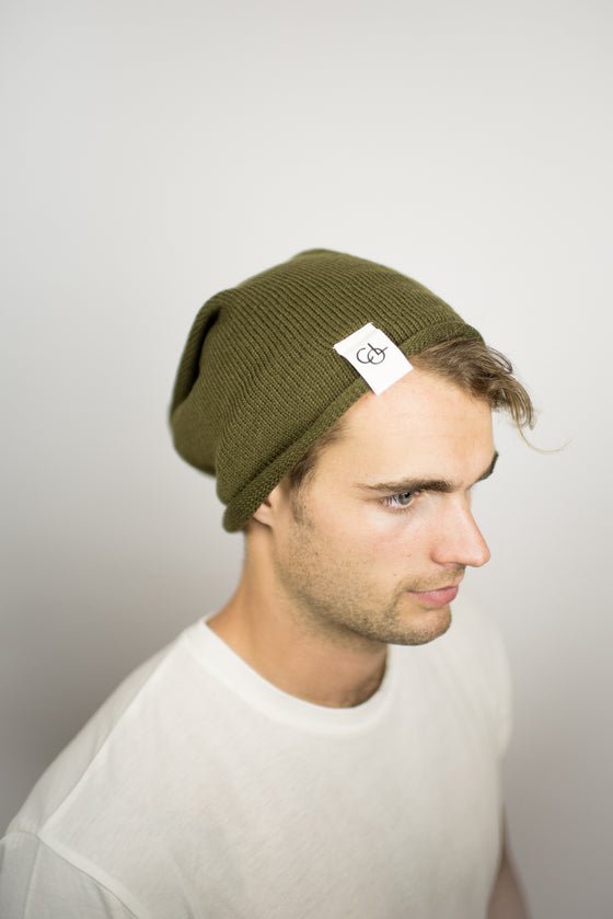 The Over-sized Slouch Beanie in Olive