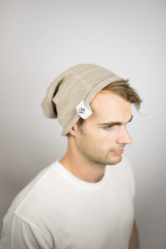 The Over-sized Slouch Beanie in Beige