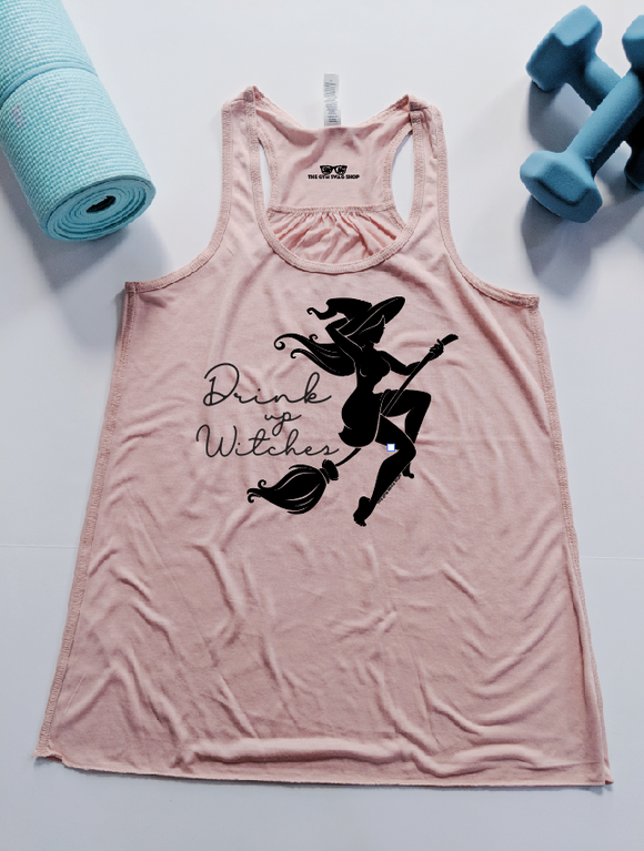 Drink Up Witches Flowy Racerback