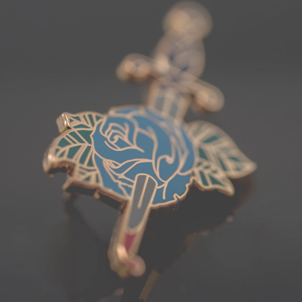 Blue Bleeding Rose Enamel Pin
