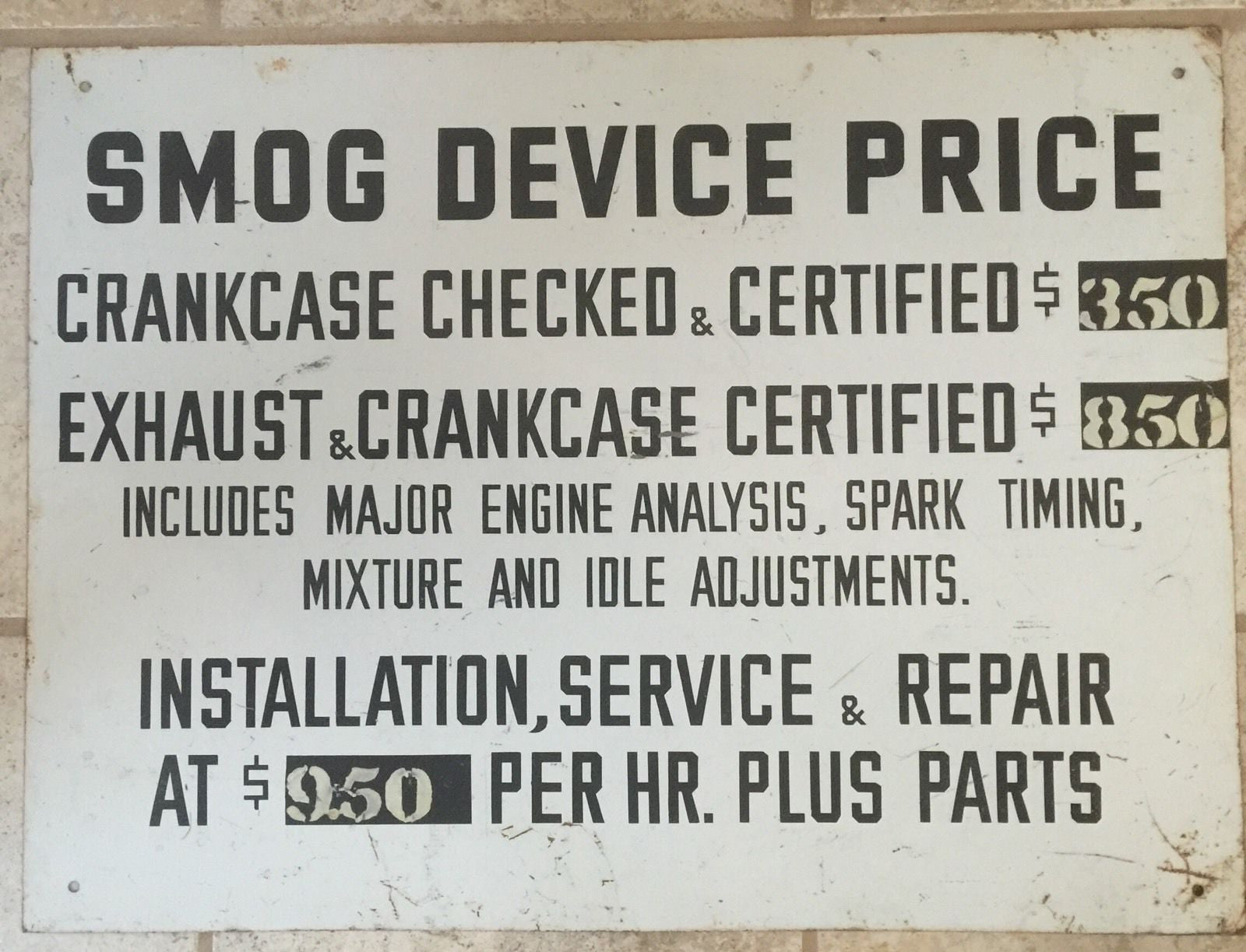 EARLY GAS STATION POLLUTION CONTROL SHOP SIGN METAL HAND LETTERED W/ SHOP RATES - arustocracy