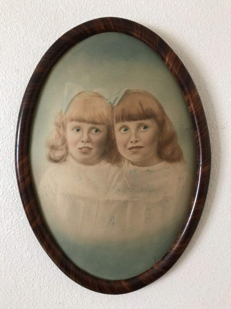 Antique Water Color Two Odd Looking Girls Oval Tiger Stripe Wood
