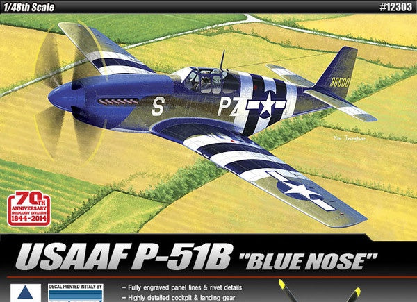Academy 12303 North American P-51B Mustang 'Blue Nose' USAAF