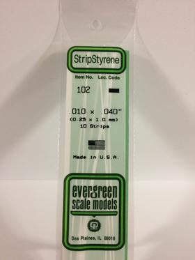 Evergreen 102 Strip - 0.25 x 1.00mm