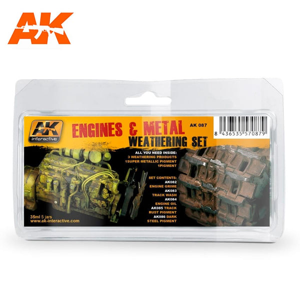 AK Interactive AK087 Engines & Metal Weathering Set