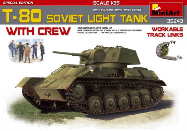 Miniart 35243 T-80 Soviet Light Tank with Crew – Special Edition