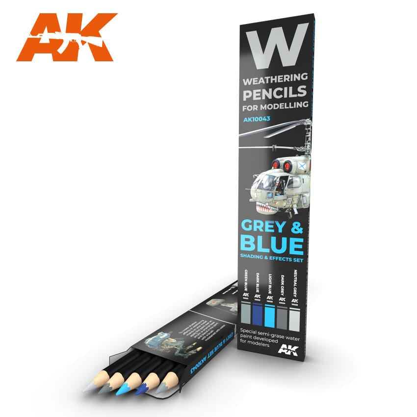 AK-Interactive AK10043 Weathering Pencil Set - Grey & Blue Shading & Effects