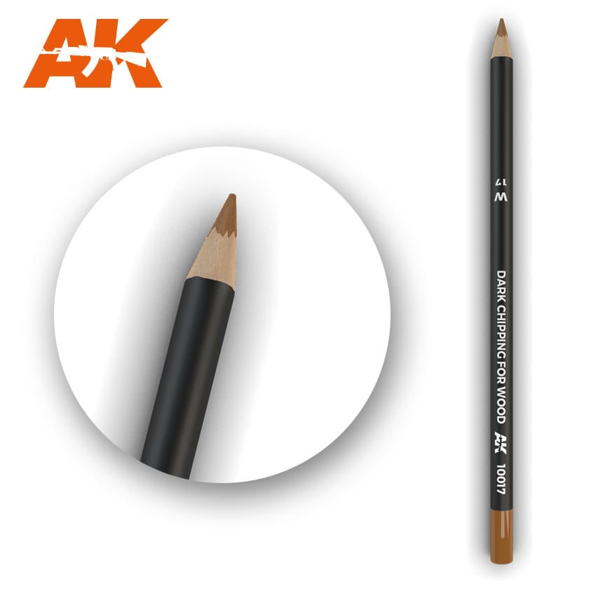 AK-Interactive Watercolor Weathering Pencil - Dark Chipping for Wood