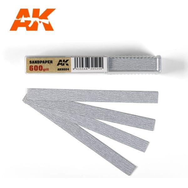 AK-Interactive AK9024 Sandpaper 600 Grit - Dry - 50 Pieces