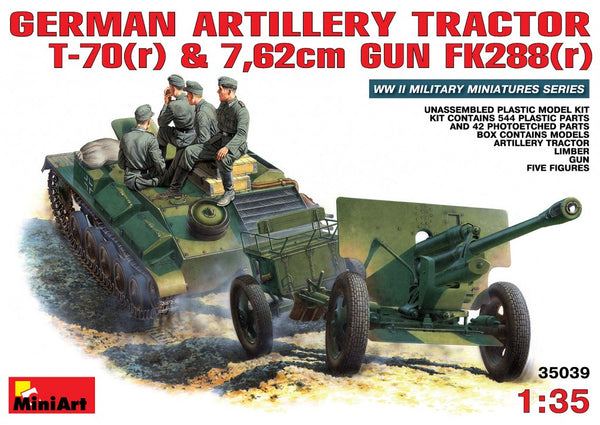 Miniart 35039 German Artillery Tractor T-70 & Gun FK288 with Crew