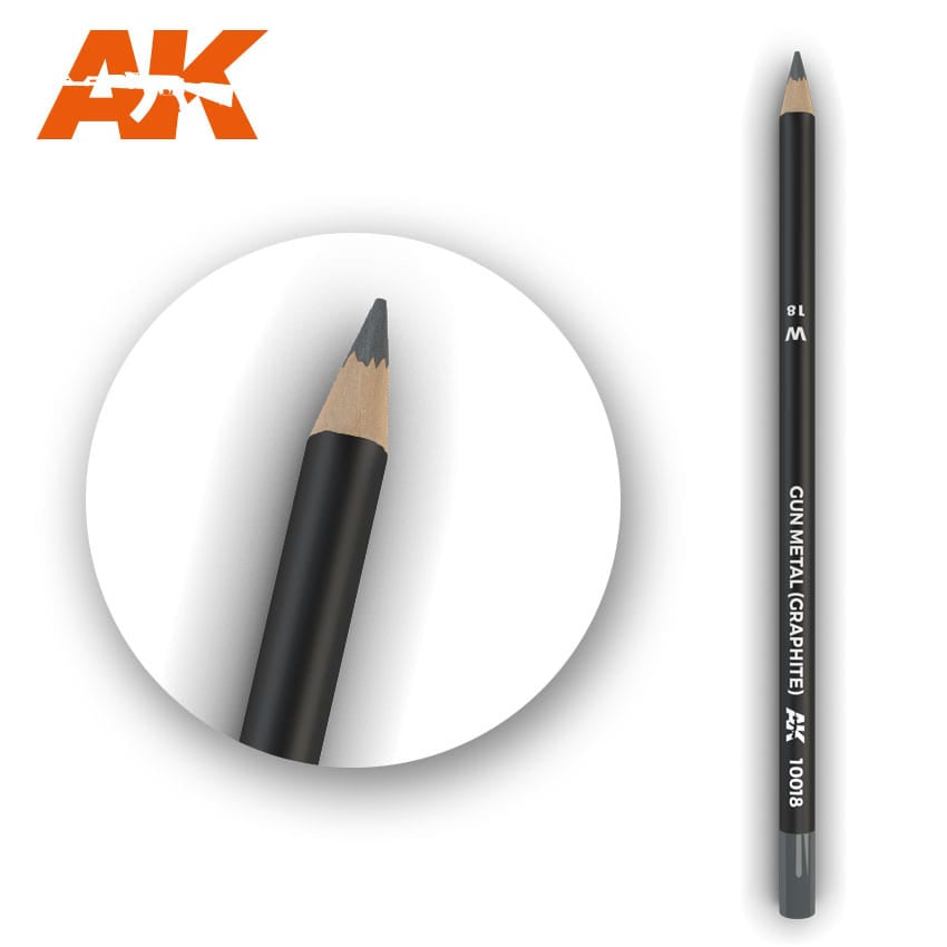 AK-Interactive AK10018 Watercolor Weathering Pencil - Gun Metal (Graphite)