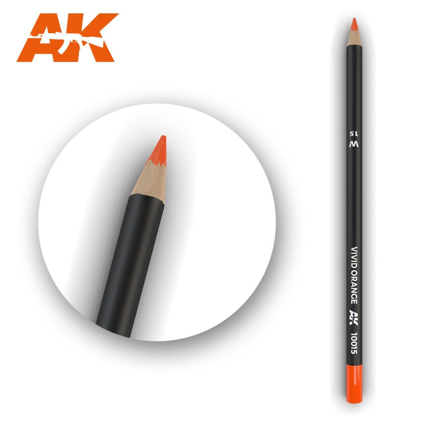 AK-Interactive AK10015 Watercolor Weathering Pencil - Vivid Orange