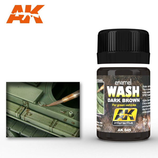 AK-Interactive AK045 Wash – Dark Brown for Green Vehicles 35ml