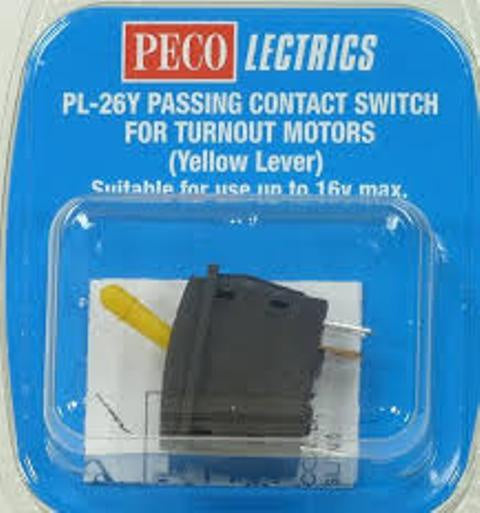 Peco Lectrics PL26Y Passing Contact Switch - Yellow