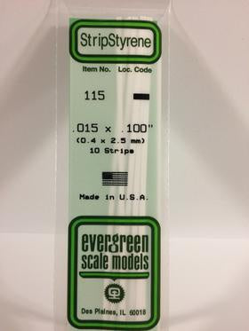 Evergreen 115 Strip - 0.40 x 2.50mm