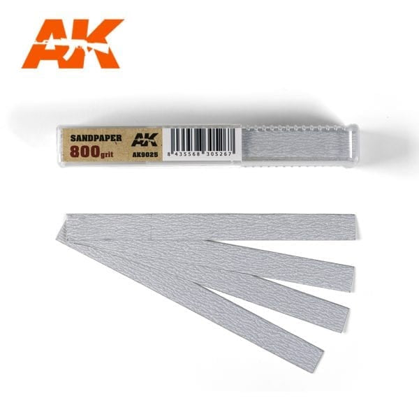 AK-Interactive AK9025 Sandpaper 800 Grit - Dry - 50 Pieces