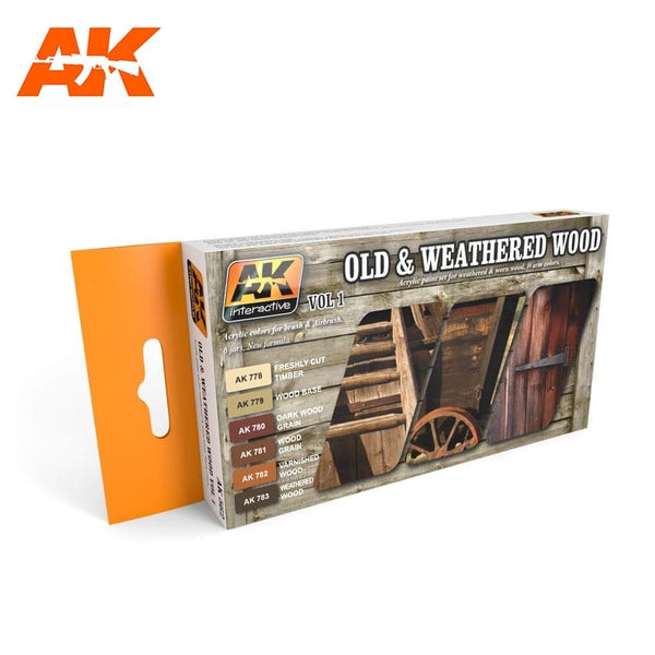 AK Interactive AK562 Old & Weathered Wood Volume 1 Acrylic Paint Set