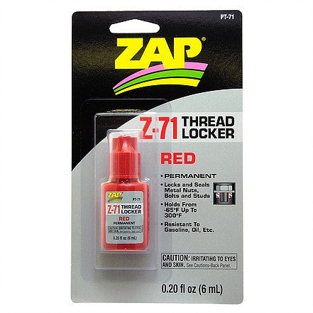 Zap PT71 Z-71 Thread Locker - Red - Permanent - 6ml
