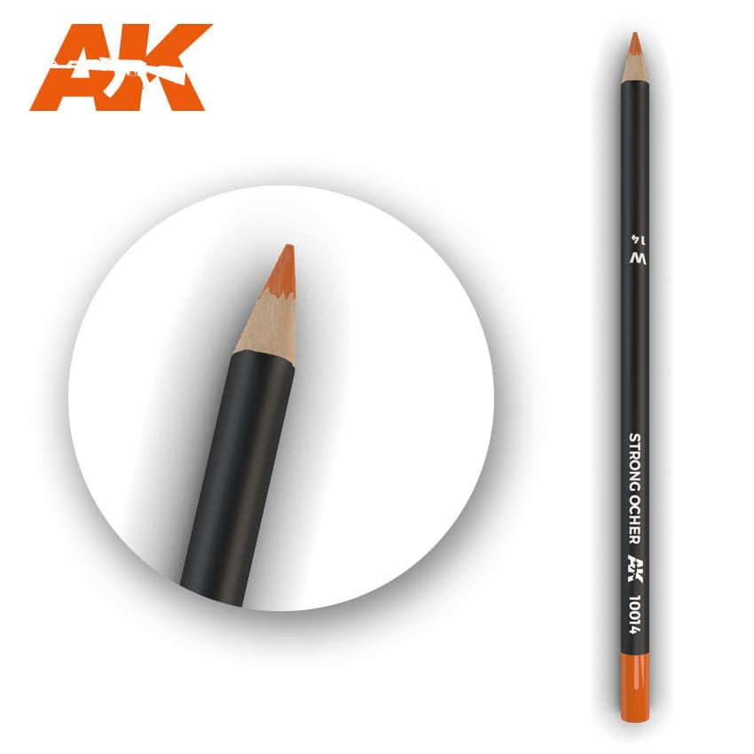 AK-Interactive AK10014 Watercolor Weathering Pencil - Strong Ochre