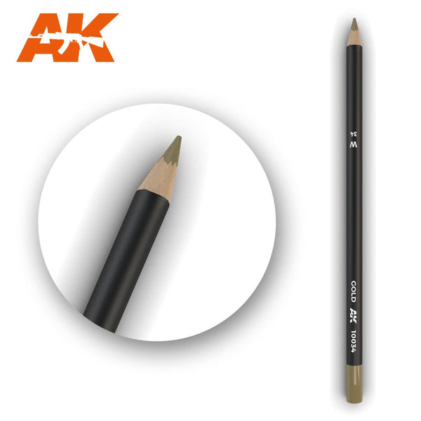AK-Interactive AK10034 Watercolor Weathering Pencil - Gold
