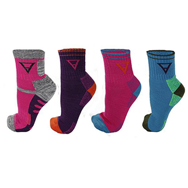 Hiking Socks 4 Pack - Womens/Mens Multi Performance Outdoor Wool Blend Socks (size small)