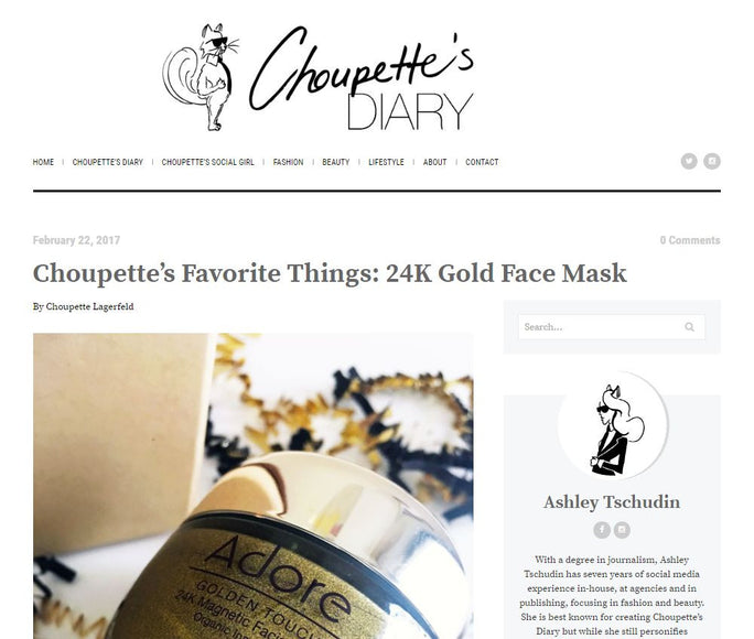 Adore 24K Gold Mask Featured in Choupette's Diary