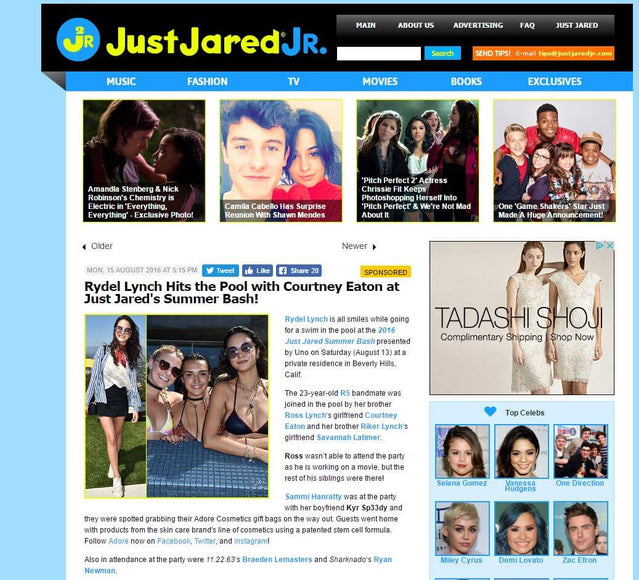 Adore Cosmetics Gift Bags Spotted at Just Jared Summer Bash