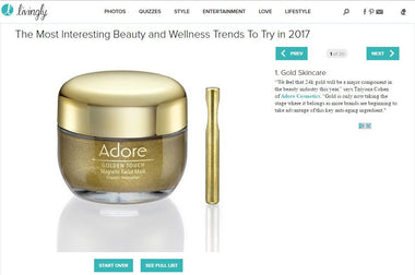 Adore Cosmetics Gold Skincare Featured in Livingly