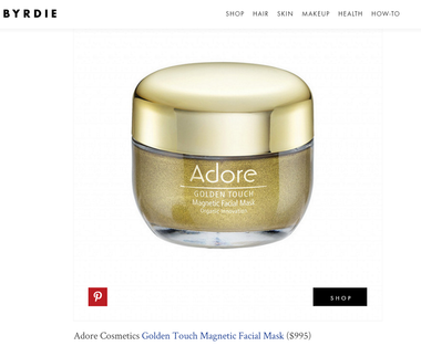 Byrdie Features Adore Cosmetics Golden Touch Magnetic Facial Mask