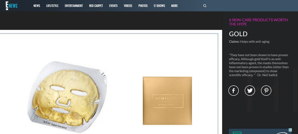 E! News Highlights Gold Techno-Dermis Mask as 'Product Worth the Hype'
