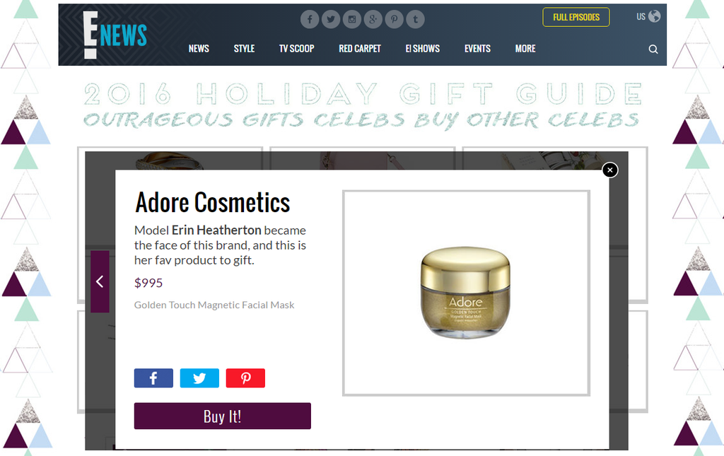 E! Online features Adore Cosmetics Golden Touch Magnetic Gold Mask