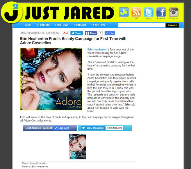 Erin Heatherton of Adore Cosmetics featured in Just Jared