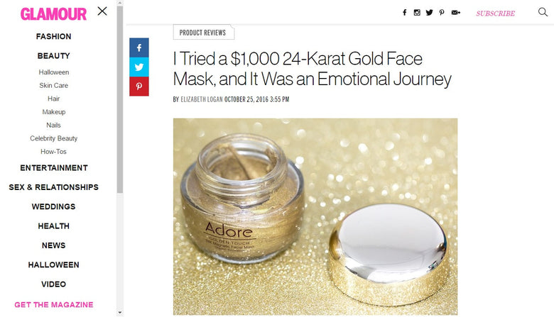 Adore Cosmetics' Golden Touch Magnetic Facial Mask Reviewed in Glamour