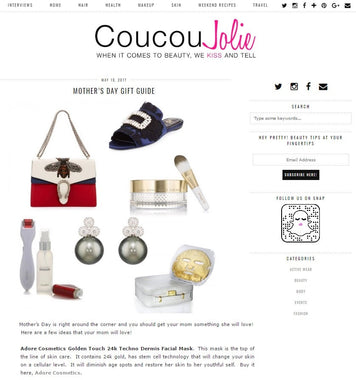 Golden Touch 24K Mask Featured on Coucou Jolie Mother's Day Gift Guide