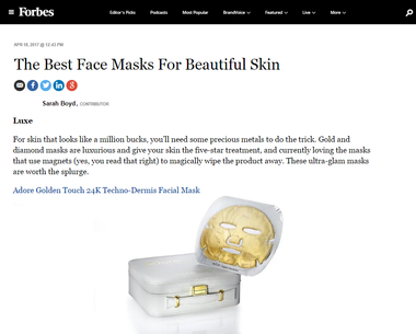Golden Touch 24K Techno-Dermis Facial Mask from Adore featured on Forbes