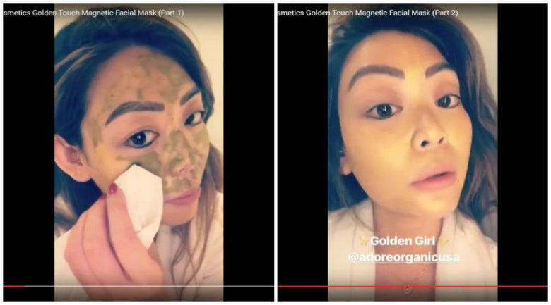 Kimmy of FABULUSH.net Goes Golden with Adore's 24K Gold Mask